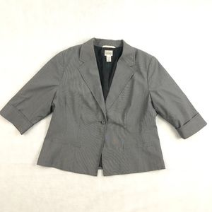 Chicos Gray Pinstripe 1/2 Sleeve Blazer 2